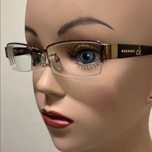 Calvin Klein Eyeglass Frame Half Rim Glossy Bronze
